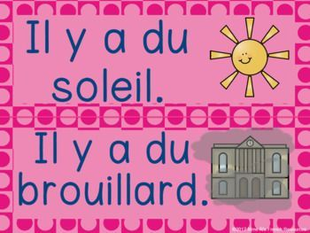 French weather word wall/ Mur de mots le temps - Perfect collection of weather terms + seasons for a French 1 classroom.  Click here to see more!