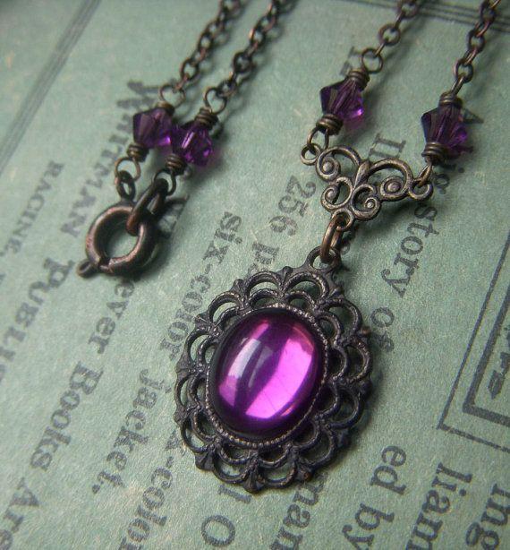 Amethyst Cabochon Necklace on Dark Brass . Purple by PatinaBijoux, $24.00