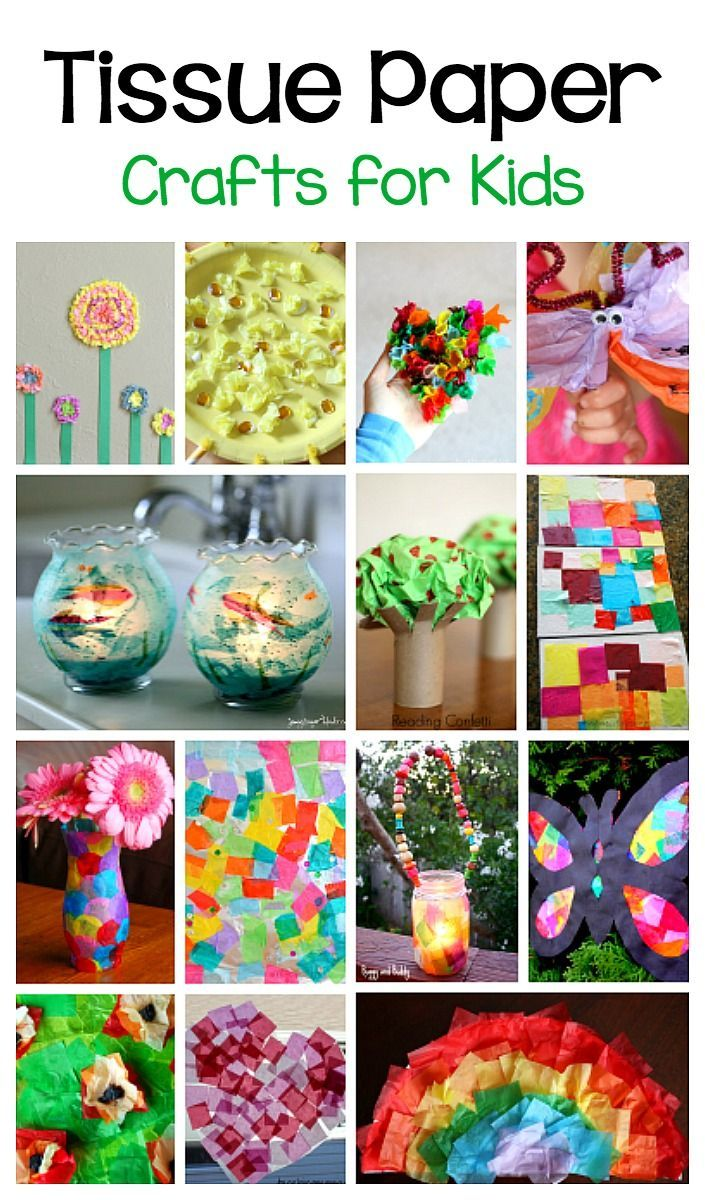 Over 20 Crafts for Kids and Art Projects for Children Using Tissue Paper- including tissue paper flowers, tissue paper trees, tissue paper suncatchers, and more!