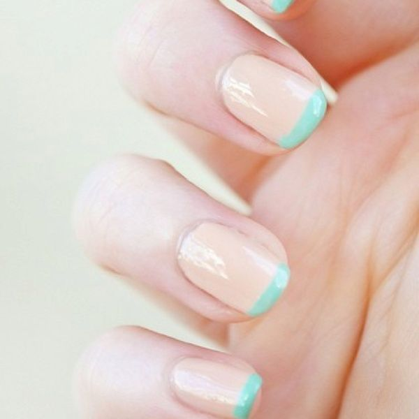 peach and mint nails
