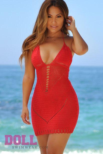 Malibu Cocktail Red Sexy Cut Out Crochet Beach Dress