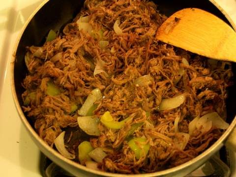 Cuban Vaca Frita, recommended by Maria A.  She suggests using more lime, and says it can be made in a crock pot or on the stove in a dutch oven.