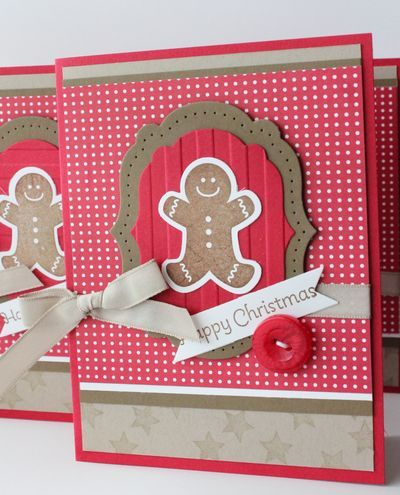 gingerbreadCards With Gingerbread Man, Gingerbread Parties, Stamps Sets, Gingerbread Christmas Cards, Simple Cards, Buttons, Gingerbread Cards, Gingerbread Man Cards, Stampin Up! Christmas Cards