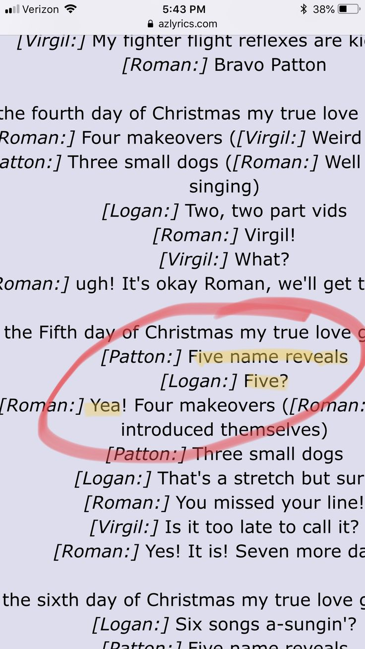"lyrics to the sanders sides ""twelve days of Christmas"