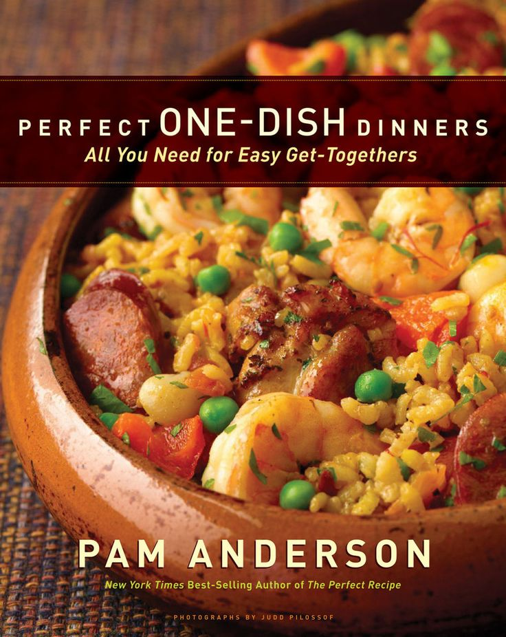 Perfect One-Dish Dinners: All You Need for Easy Get-Togethers by Pam Anderson (article has recipes for Lemony Seafood Pasta Salad with Tomatoes, Feta and Oregano; Roast Chorizo-Stuffed Adobo Pork Loin with Black Beans and Rice; and Mini Parmesan Muffins with Prosciutto and Basil.