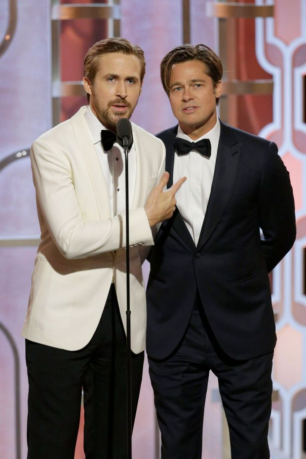 Ryan Gosling and Brad Pitt presenting at the 2016 Golden Globes. Photo: Paul Drinkwater/NBCUniversal via Getty Images