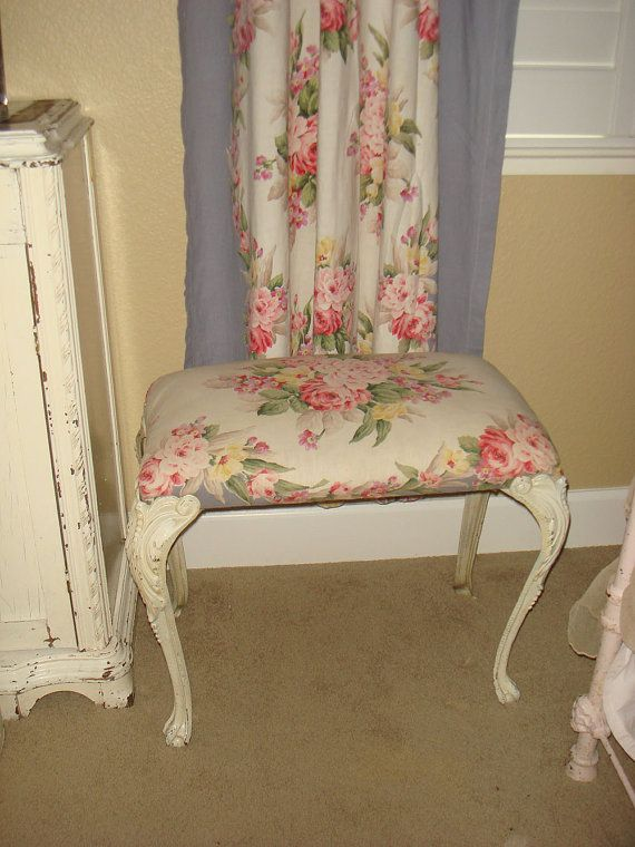 Vintage Shabby Chic Vanity Bench With Ball By UnnecessaryNecessity, $164.95