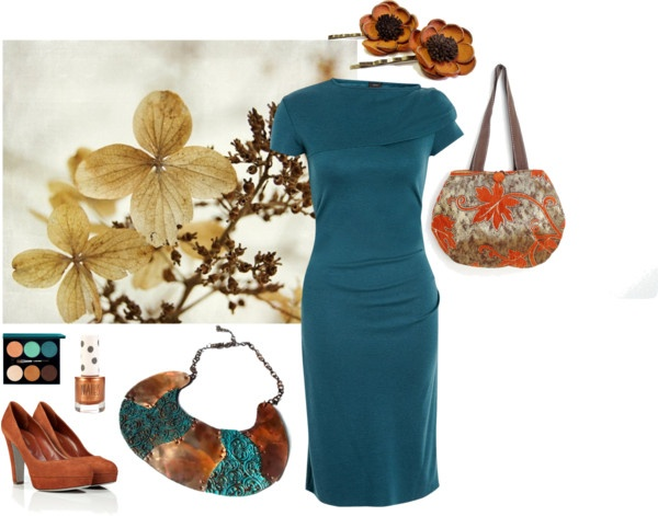 Saturday Style – Copper and Teal  Photograph by OverTheRainbowPrints – http://etsy.me/Yb5Iws  Hair pins by Agatechristina - http://etsy.me/XWMdw4  Handbag by StarBags - http://etsy.me/119SLnM  Bib necklace by Miamajewels - http://etsy.me/14EDNN4  For more links see the Polyvore board - http://polyv.re/11vM1zw