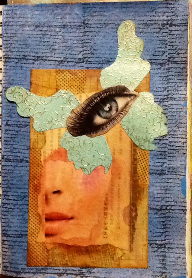 Found an ATC card on Pinterest, so I did a journal page... Createnscrap@blogspot.co.Nz  has the details of how I achieved my full page effect... Thanks heaps for inspiring me ladies!!