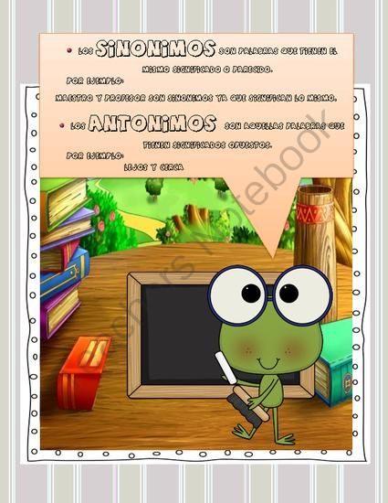 los sinonimos y antonimos/ the synonyms and antonyms in spanish from Tell me.I forget.Show me.I remember.Involve me,I understand. on TeachersNotebook.com (3 pages)  - synonyms and antonyms in spanish