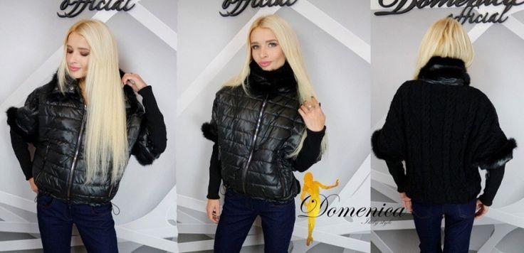 Модная женская куртка короткая с вязанными вставками и натуральным мехом кролика черная