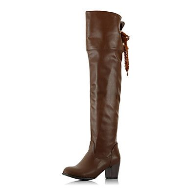 Faux Leather Chunky Heel Platform Over the Knee Boots(More Colors) – USD $ 49.49
