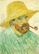 Self Portrait With Pipe And Straw Hat  by Vincent Van Gogh