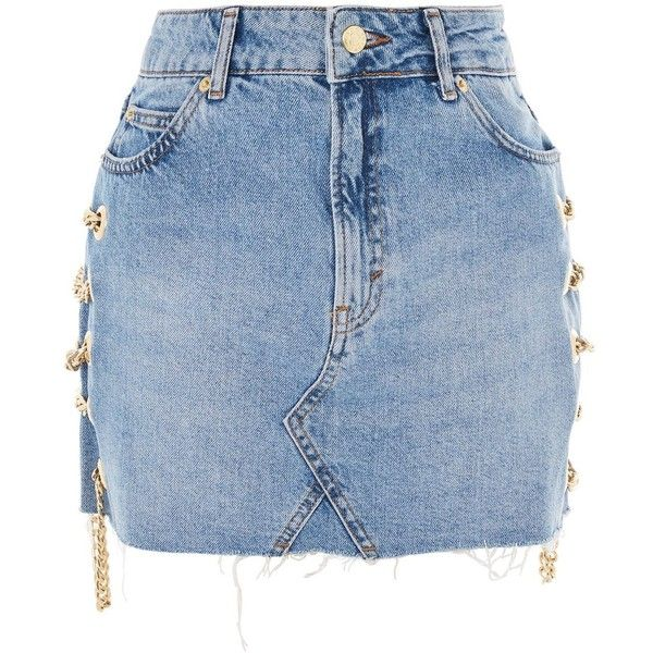 Topshop Moto Chain Detail Denim Skirt ($58) ❤ liked on Polyvore featuring skirts, mini skirts, bottoms, topshop, mid stone, stretch skirt, denim miniskirt, short skirts, blue skirts and stretchy mini skirts