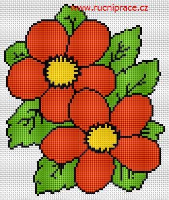 Flowers, free cross stitch patterns and charts - www.free-cross-stitch.rucniprace.cz