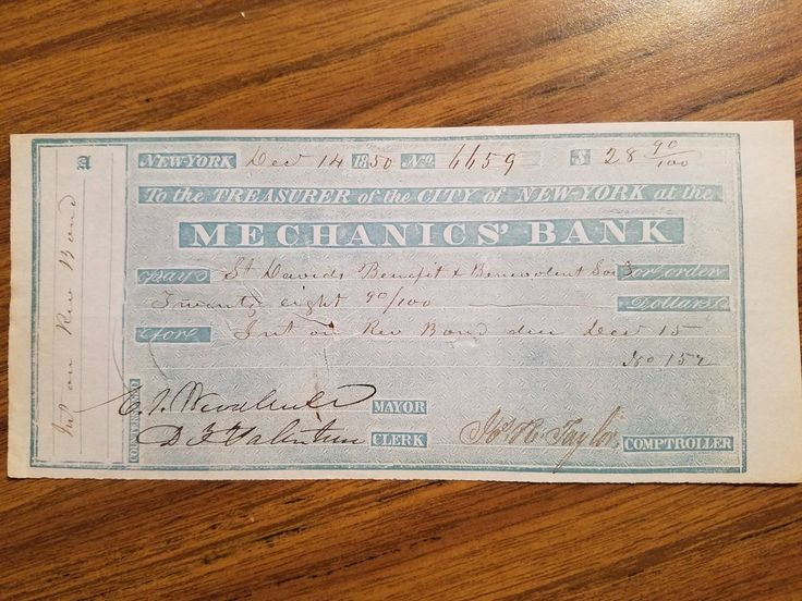 1850 Bank Check Paper Money Signed by New York Mayor