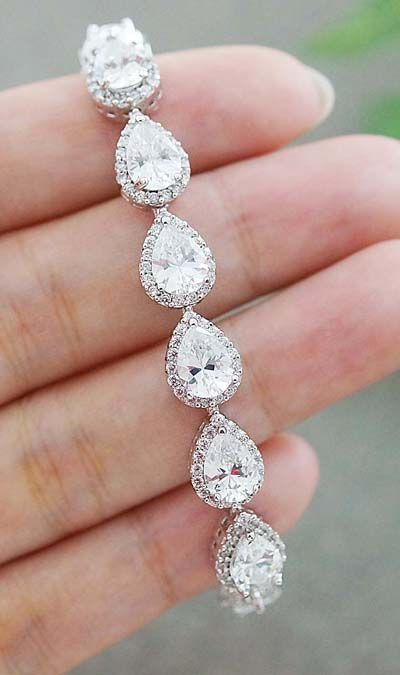 Luxury Cubic Zirconia Halo Style Pear Shape Bridal Bracelet from EarringsNation