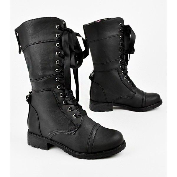 Ribbon Lace up Floral Cuff Military Mid calf Combat Boots Black (26 AUD) ❤ liked on Polyvore featuring shoes, boots, combat, combat boots, black mid calf boots, army combat boots, mid calf boots, black boots and combat booties