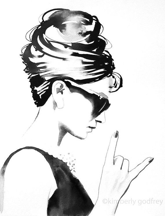 B&W Audrey Rocks Fine Art Print Fashion Illustration Vintage Black and White Style Icon Hair Salon Wall Art