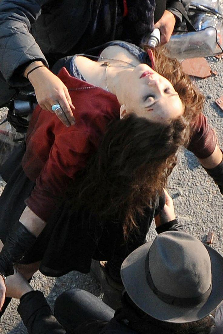 Actress Elizabeth Olsen Avengers 2 Age Of Ultron on location stills in Italy