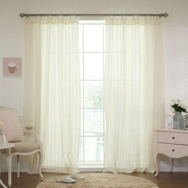 Aurora Home Mini Flower Embroidered Cotton Eyelet Curtain (Pair) Part 79