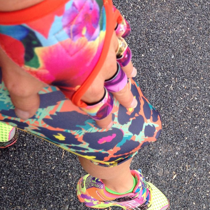 Some call it clashing; I call it quite smashing!  Multi-coloured Asics Noosa Tris, multi-coloured cougar pants from Sandy Q and Aloha G-Loves gym gloves from yours truly.    I started the day with 8x500m running repeats.  They were really hard.  Followed by a good old fashioned legs, shoulder and back session in the gym this afternoon.  I earned my spa bath again tonight.  www.g-loves.com.au  #g_loves #aloha #asics #sandyq #bestgymglovesever #BeStrong