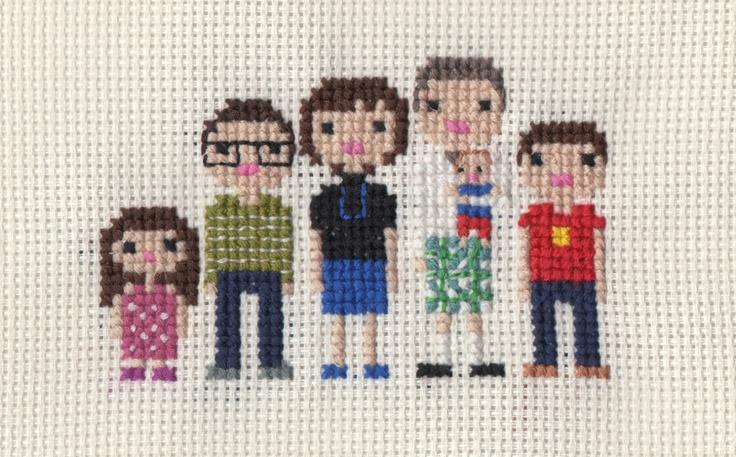 Custom Large Family Pixel Cross Stitch Portrait (Framed).