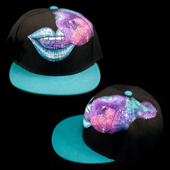 cf09fa378c6 Kiss the Sky Hand Painted Hat - Turquoise Lips   Galaxy Smoke Cloud Snap  back Hand Painted Custom Snap back