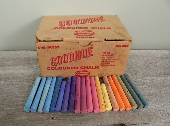 Box of Vintage Colorful Chalk Vintage Art by NewfoundFinds on Etsy