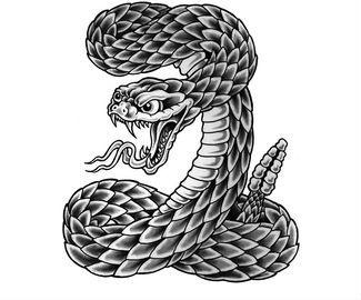 Rattlesnake Tattoo Design Stencil Model