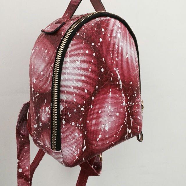 Art leather backpack. Graffiti leather backpack. Genuine Leather  Backpack.  Python Leather Backpack. Designer leather backpack. 涂鸦皮革背包 by StudioANTU on Etsy