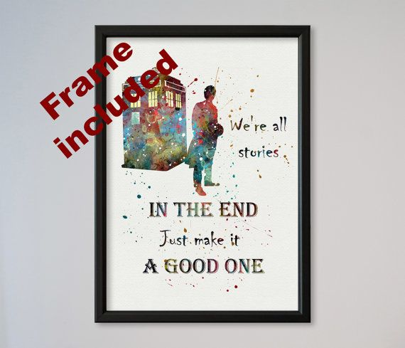 Tardis Doctor Who Quote Poster Watercolor Print Wall Decor