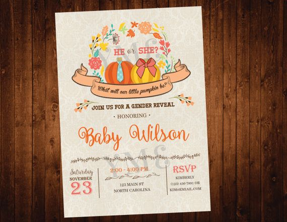 Pumpkin Fall Gender Reveal Party Invitation by YourMainEventPrints