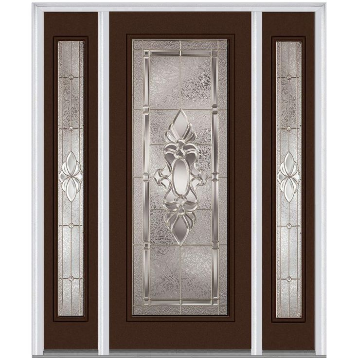 Milliken Millwork 68.5 in. x 81.75 in. Heirloom Master Decorative Glass Full Lite Painted Majestic Steel Exterior Door with Sidelites, Polished Mahogany