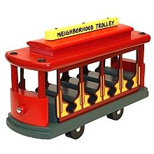 All aboard! Check out this beautifully-crafted 100% hardwood replica of Mister Rogers' Neighborhood Trolley.