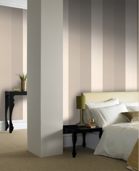 57222 Graham & Brown Figaro : Beige & Gold Mocha,Cream,Beige Stripe Wallpaper - could be interesting as feature wall behind bed