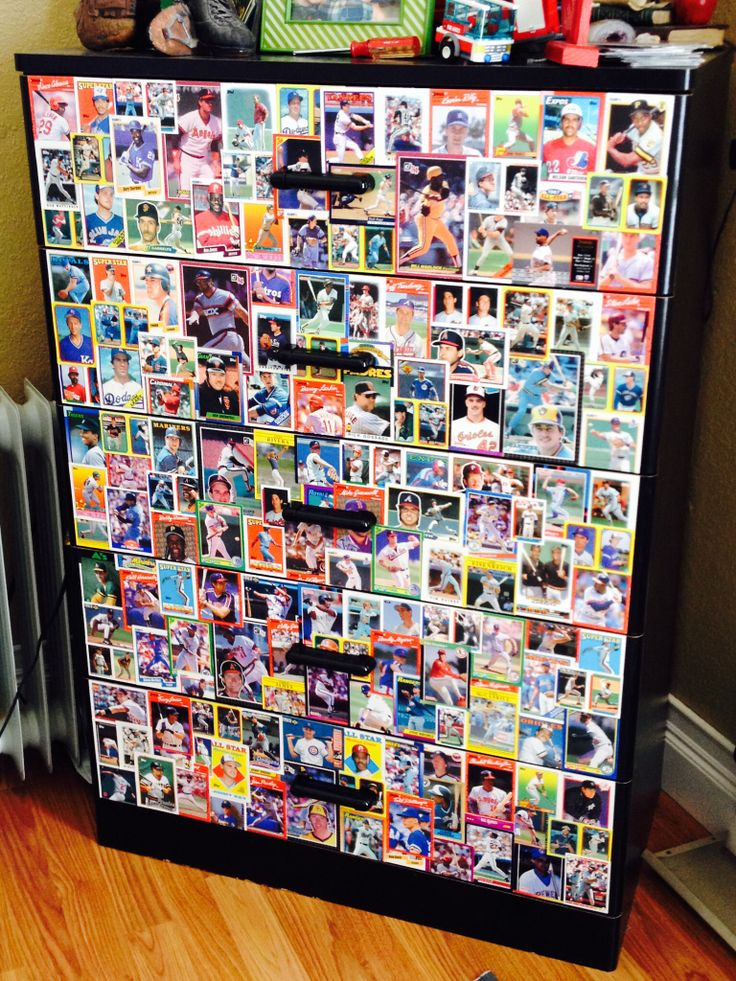 What to do with dad's old baseball cards? Decoupage onto son's dresser drawers!