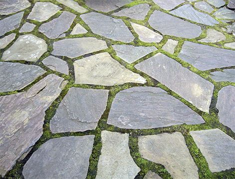 flagstone patio neatly fit with moss in between a great look for shade michaelmuro - Bluestone Patio Ideas