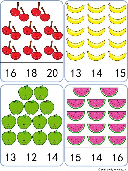 Fruit Count and Clip Cards