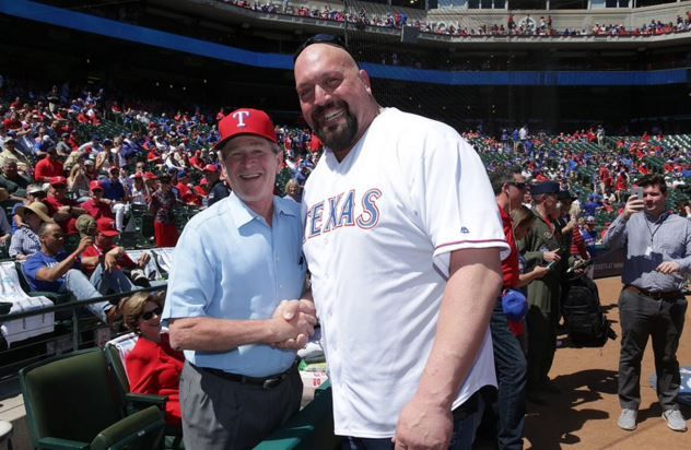 WWE superstar Paul Wight, better known to wrestling fans as The Big Show, hung out with another big-timebaseball fan at the Texas Rangers opening day game. That other fan happened …