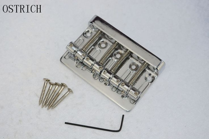Black 4 String Vintage Bridge Tailpiece For Jazz Bass replacement- BLACK And Silver plated