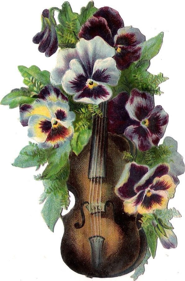 Oblaten Glanzbild scrap die cut  chromo Musik Instrument  Geige violin pansy