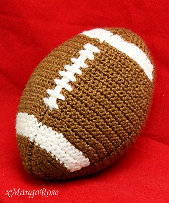 This football pattern produces a football that is the actual size and shape of a real football. The football is stuffed with soft fiberfill, and