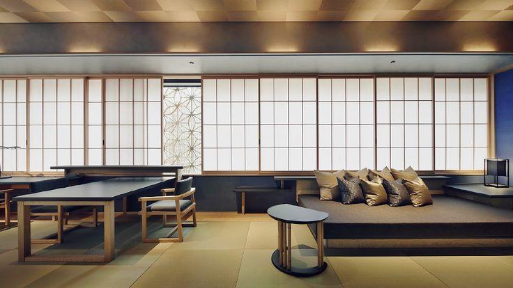 《 星のや東京 》南向きの角部屋で、障子越しに和らかな光がさしこみます。百合、桜のほぼ倍の面積の広い客室です。ダイニングテーブル、小さなデスク、足をのばして寛げるソファが設えられ、長期滞在にもおすすめしたい客室です。日本らしい深い浴槽と洗い場のある浴室では、風を感じながらご入浴を楽しめます。寝台には、シングルサイズのお布団を3枚並べることができます。