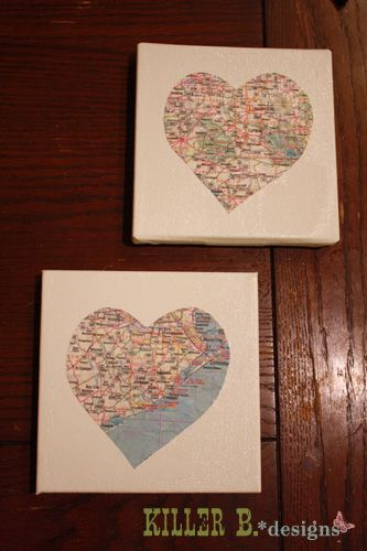 another heart map on canvas - love