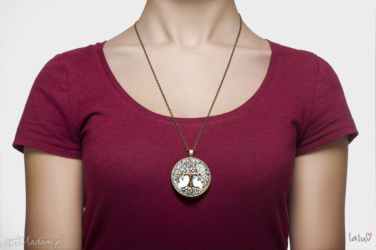 • trendy naszyjniki, biżuteria - medalion okrągły drzewo życia
