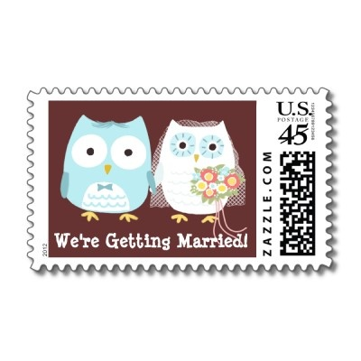 We're Getting Married Owls Wedding - Custom Postage Stamp by jennsdoodleworld   Greg would kill me!!