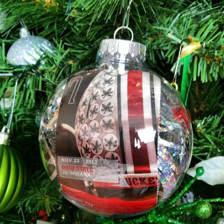 Did not want to throw away my ticket to my first OSU Football game with my boyfriend so I put my ticket inside an ornament and added holiday bLing in the inside and have this memory now hanging on my Christmas Tree!
