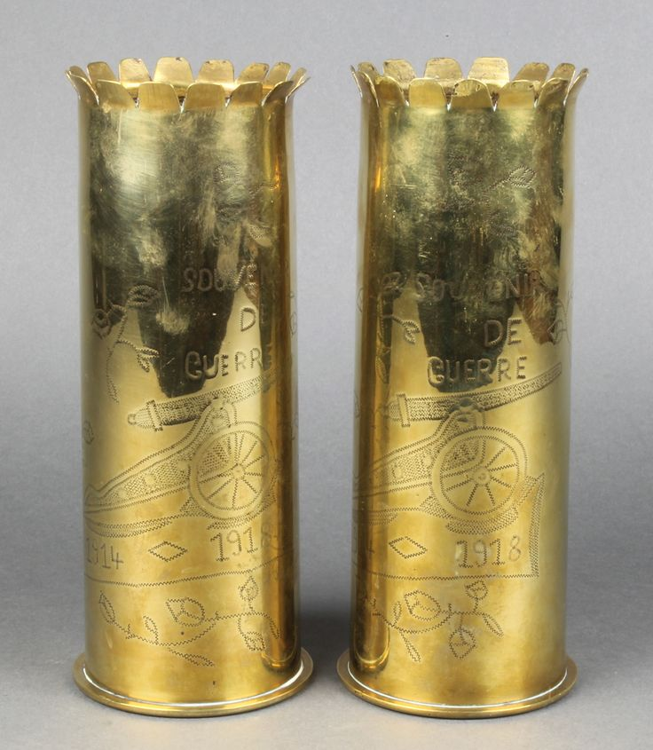 Lot 212, 2 First World War Continental Trench Art shell cases marked Souvenir De Gerre, sold for £65