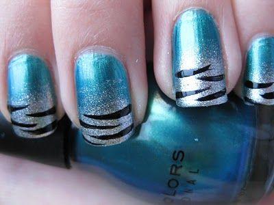 Shimmery Aqua Polish w/Silver Glittery Fade/Black Tiger Stripe French Tips: Zebras Stripes, Tigers Stripes Nails, Nails Art, Blue Zebras, French Tips, Zebras Nails, Blue Glitter, Blue Tigers, Blue Nails